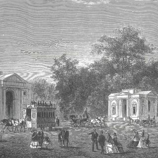 L'entrée du bois de la Cambre, d'après Ch. Trumper. L'illustration européenne, 17 août 1872.